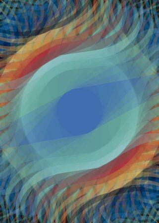 抽象的なカラフルな幾何学的な楕円形の目のデジタル アートの背景  イラスト・ベクター素材