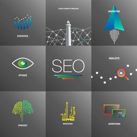 大きなビジネスのための SEO の背景を設定します。  イラスト・ベクター素材