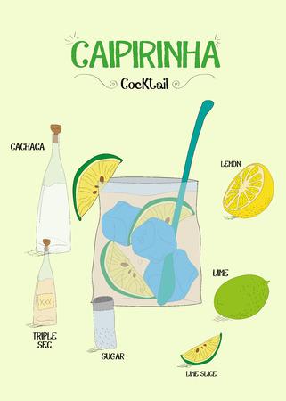 How to make a Caipirinha cocktail with ingredients Ilustração