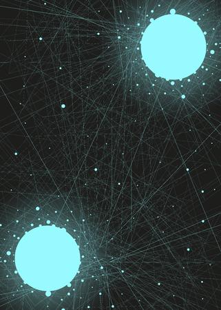 直線と円と青の抽象的な背景