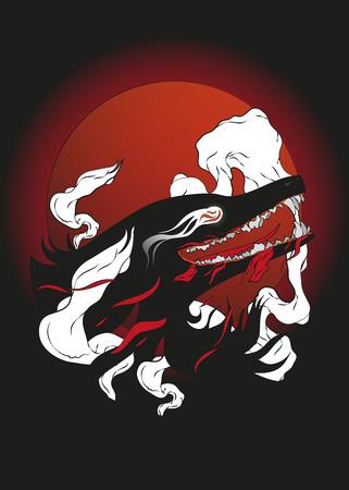 Wolf transformation at night background poster Ilustração