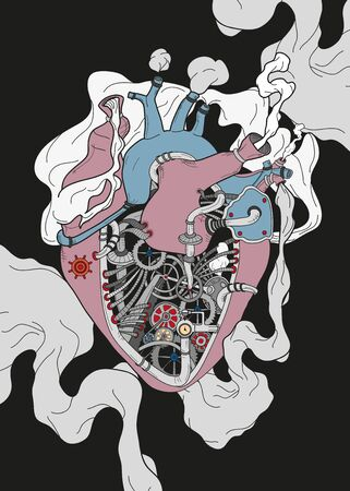 Mechanical heart background poster
