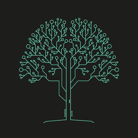 Technology tree architecture background Ilustração