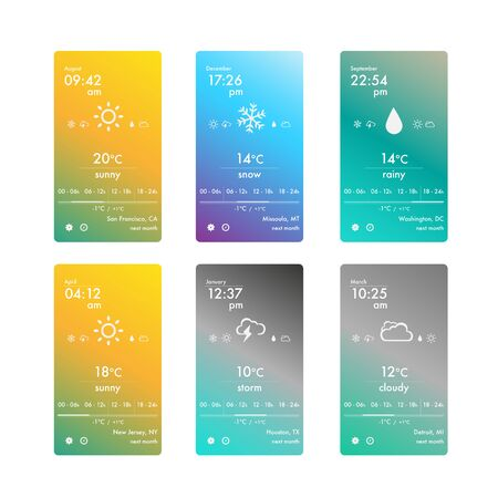 Weather app for smartphone Ilustrace