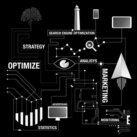 検索エンジン最適化のマップの背景  イラスト・ベクター素材