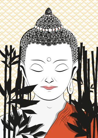 Meditating buddha digital illustration
