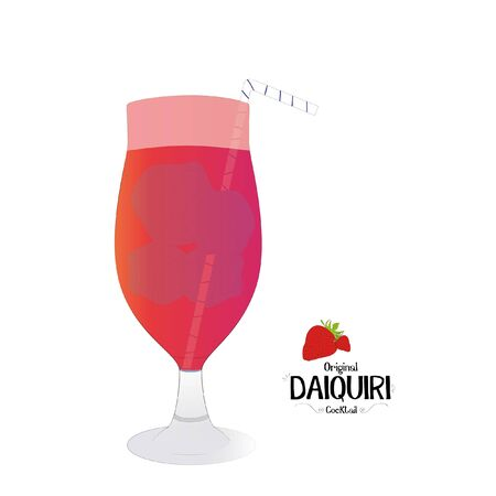 Strawberry cocktail graphic illustration