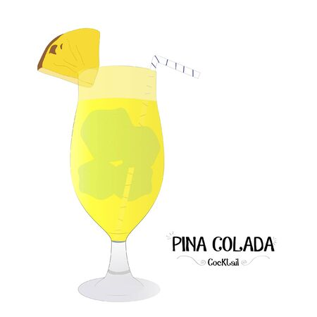 Pineapple cocktail graphic illustration