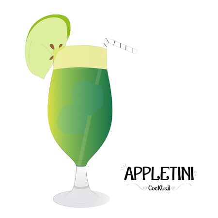 Apple cocktail graphic illustration