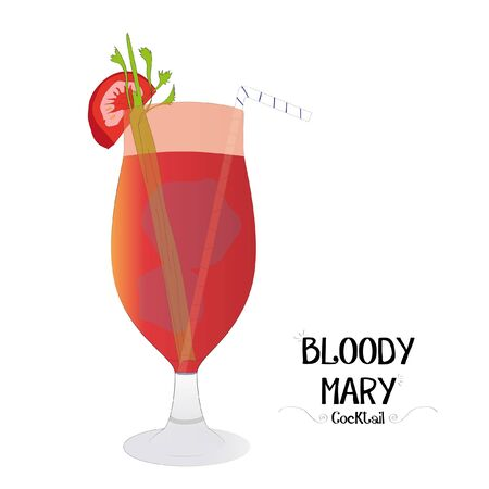 Tomato juice cocktail graphic illustration