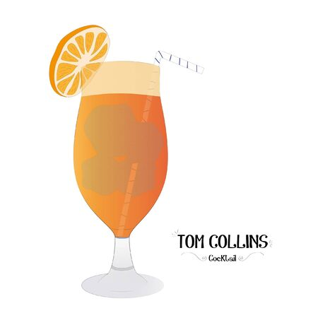 Orange cocktail graphic illustration  イラスト・ベクター素材