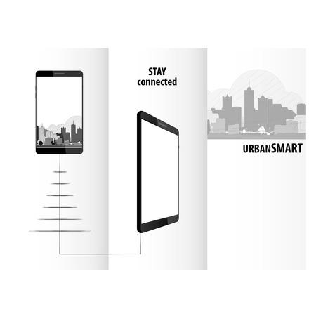 ビジネス技術トリプティク スマート フォン デザイン