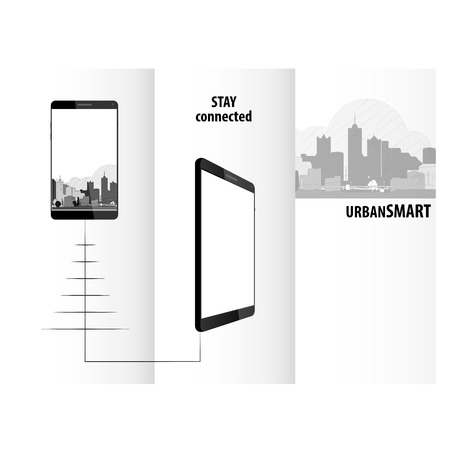 Technology triptych smartphone design for business Reklamní fotografie - 73487866