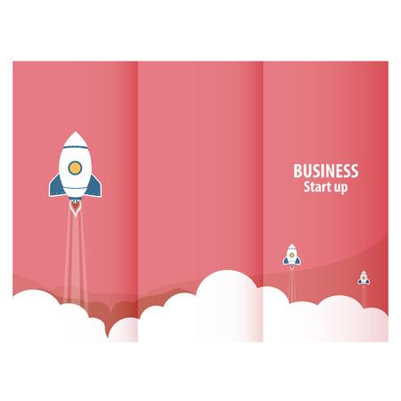 ロケット起動ビジネスをデザインする三連祭壇画  イラスト・ベクター素材