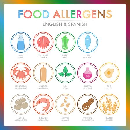 Colorful set of allergen for your business Ilustrace