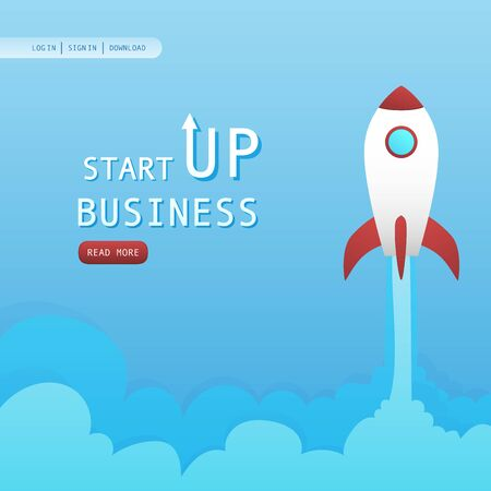 Startup rocket for new business  イラスト・ベクター素材