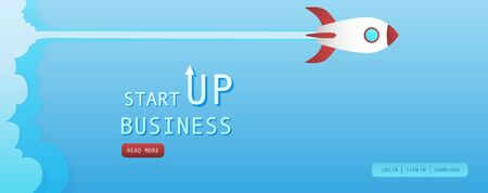 Startup rocket banner for new business Ilustrace
