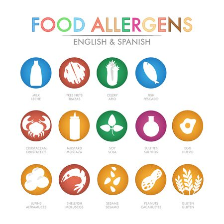 Allergen icons vector set for business Ilustrace