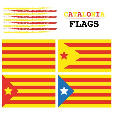 All Catalonia flags digital vector background