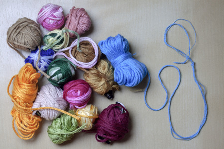 crafty: group of diferente multicolored balls of thread Stock Photo