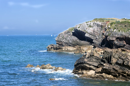 oceana: a magnificent view of a landscape of a cliff in Candas Asturias