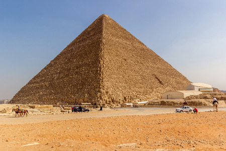 cheops: horizontal view of the Great Pyramid of Giza Pyramid of Khufu or the Pyramid of Cheops, Giza, Egypt