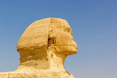 egyptology: a horizontal view of a detail of the Sphinx Giza, Egypt Stock Photo