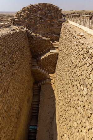 egyptology: a vertical view of the South entrance of Djoser tomb Stock Photo