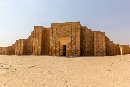 djoser: a horizontal view of the main entrance of Djoser tomb