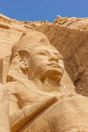 egyptology: a vertical view of a detail of the colossus of Abu Simbel, Nubia, Egypt