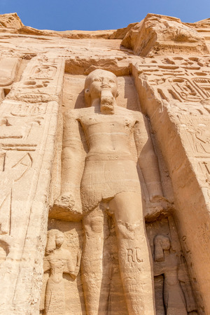 egyptology: a vertical view of a sculpture of Temple of Nefertari, Abu Simbel, Nubia, Egypt