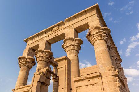 pillage: horizontal view of a detail of the Trajan Kiosk, Philae Temple, Lake Nasser, Egypt Stock Photo