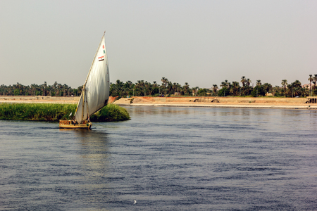 nile river: horizontal view of a boat in the Nile River, Egypt