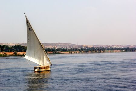 nile river: a horizontal view of a boat in the Nile River, Egypt