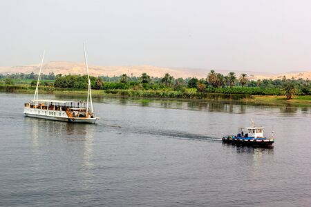 nile river: a horizontal view of the Nile River, Egypt Stock Photo