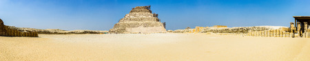 egyptology: a panoramic view of Djoser pyramid, Saqqara, Egypt Stock Photo