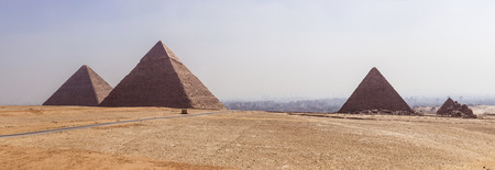 egypt pyramid: a panoramic view of the Pyramids of Giza, Egypt