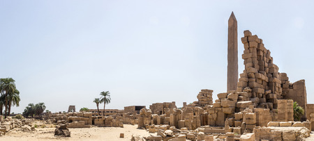 obelisc: a panoramic view of some remains in Karnak, Luxor, Egypt Stock Photo