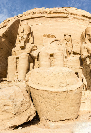 egyptology: a vertical view of some of the Memmon Colossus, Luxor, Egypt
