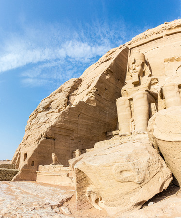 egyptology: a vertical view of one the Memmon Colossus, Luxor, Egypt Stock Photo