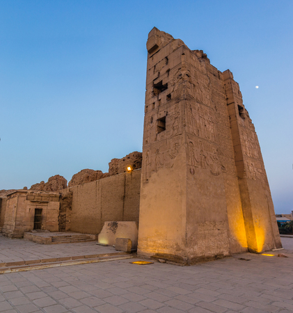 pillage: a panoramic view a sunset at Kom Ombo temple, Egypt Stock Photo