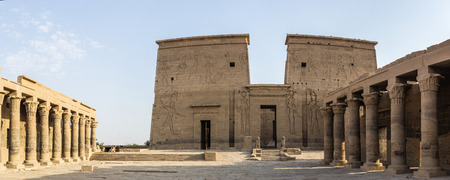 quenching: a panoramic view of a detail of the Philae temple, Egypt