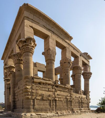 plundering: a vertical view of the Trajan Kiosk Philae, Egypt