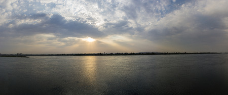 nile river: a panoramic view of a sunset on the Nile River, Egypt