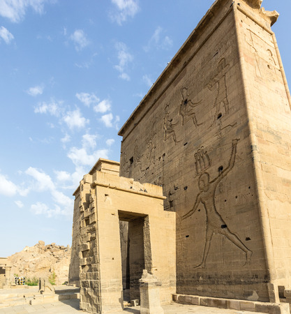 quenching: a vertical view of the pylons of the temple of Philae, Egypt Stock Photo