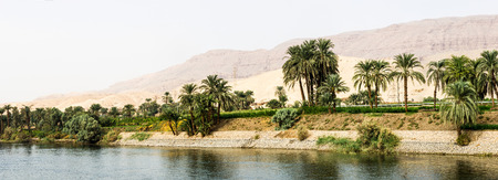 a panoramic view of the Nile River Banks, Egypt Stock Photo