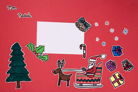 galician: a horizontal overhead view of a scrapbook xmas layout with a Happy xmas message in Catalonian or Galician
