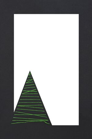 to vertical overhead view of a Christmas greeting tree made by a thread with a white space