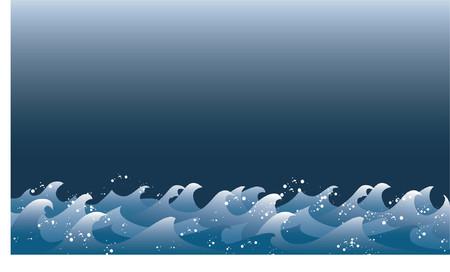 typhoon: curly waves under a dark sky, vector