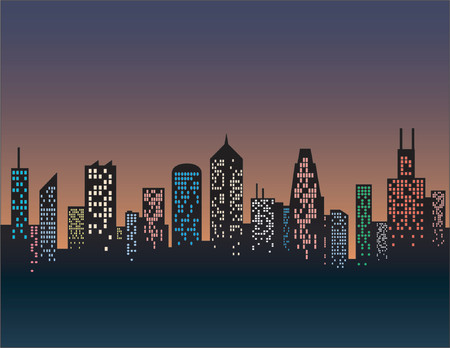 city skyline night: silhouette of a generic city skyline, vector